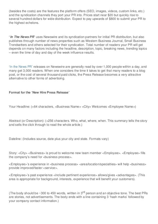 How to Send Out a Press Release - the New Hire Press Release