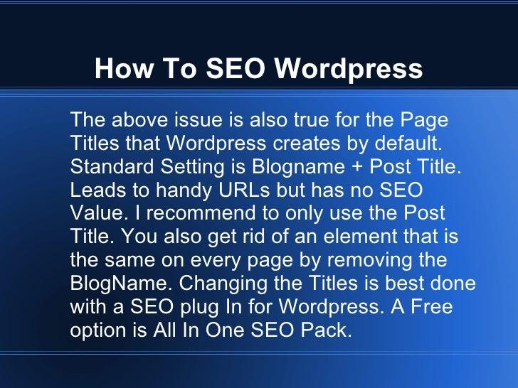 How to seo wordpress - 웹