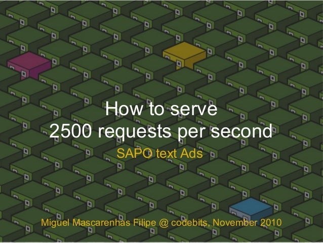 How to serve 2500 requests per second SAPO text Ads Miguel Mascarenhas Filipe @ codebits, November 2010