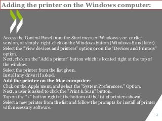 How to Set-Up Wireless Printer Connection windows and mac