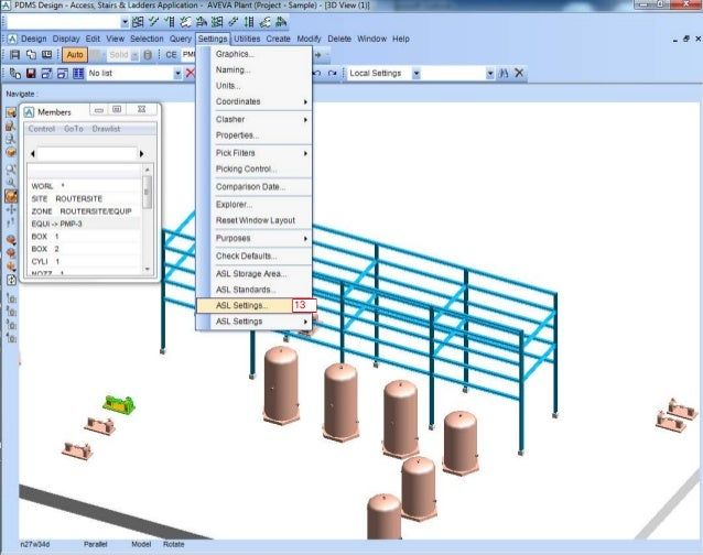 How to set ASL (Access, Stair, Ladder) standard for pdms 12