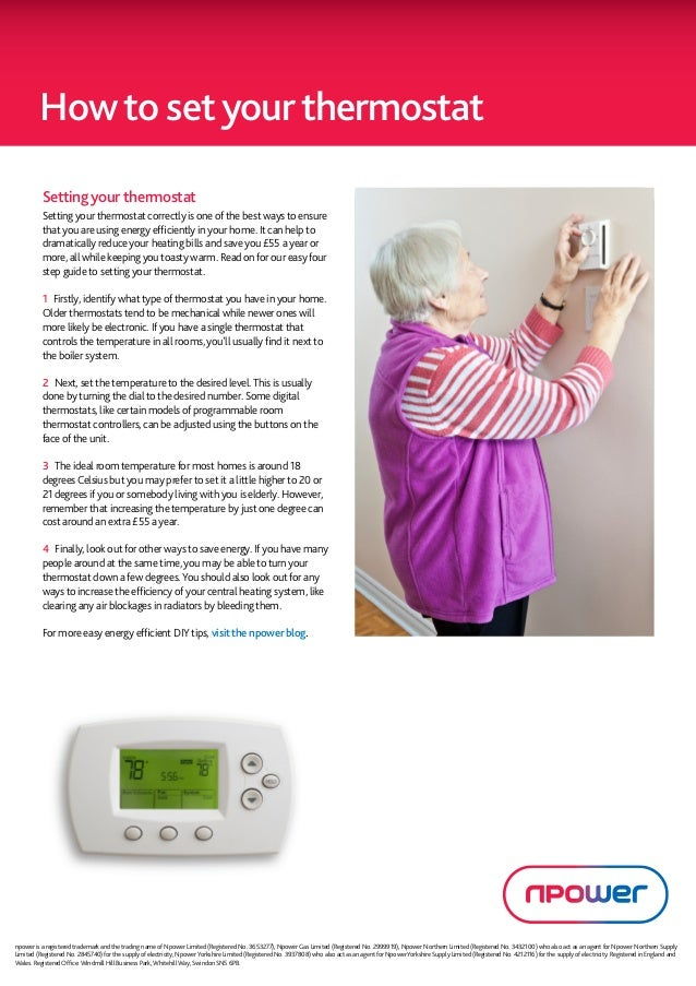How to set your thermostat          Setting your thermostat          Setting your thermostat correctly is one of the best ...