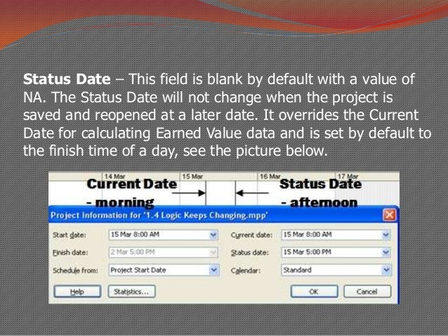 how to set status date in ms project