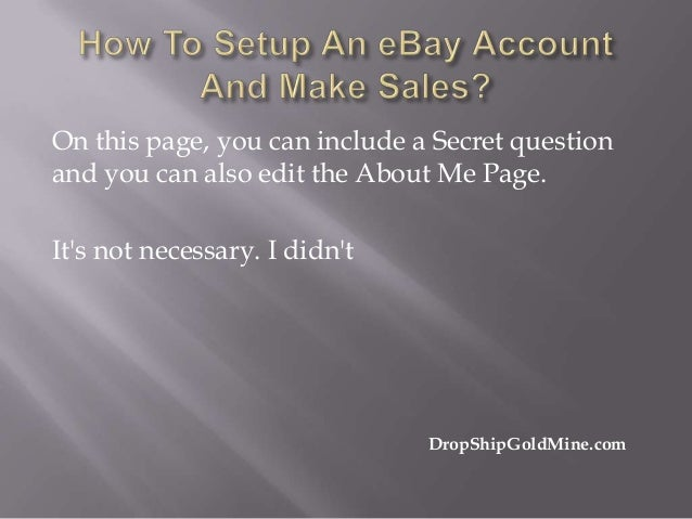 how to create an account on ebay to sell