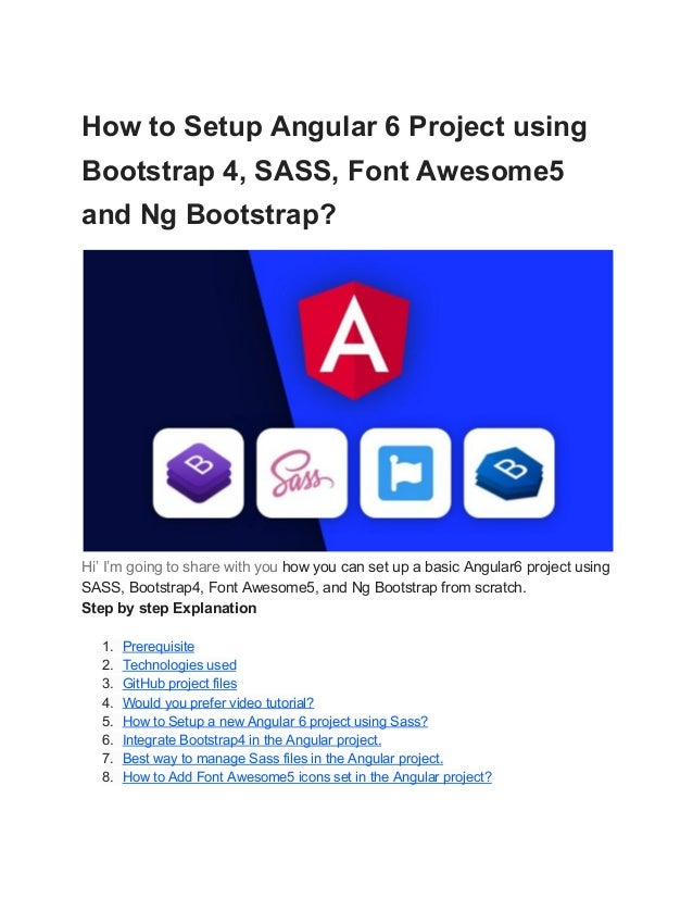 How to Setup Angular 6 Project using Bootstrap 4, SASS, Font