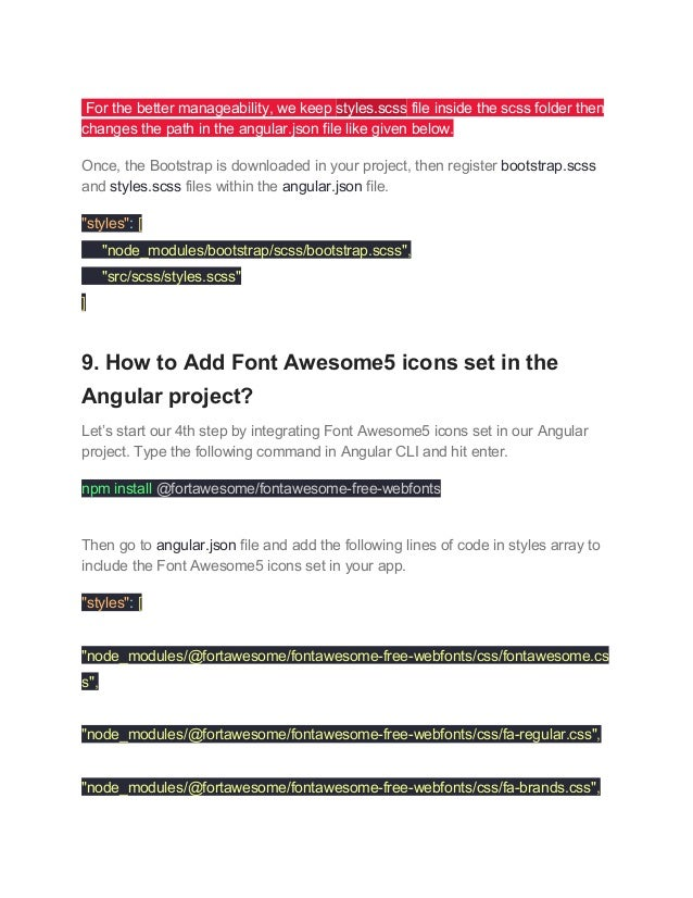 How to Setup Angular 6 Project using Bootstrap 4, SASS, Font Awesome5…