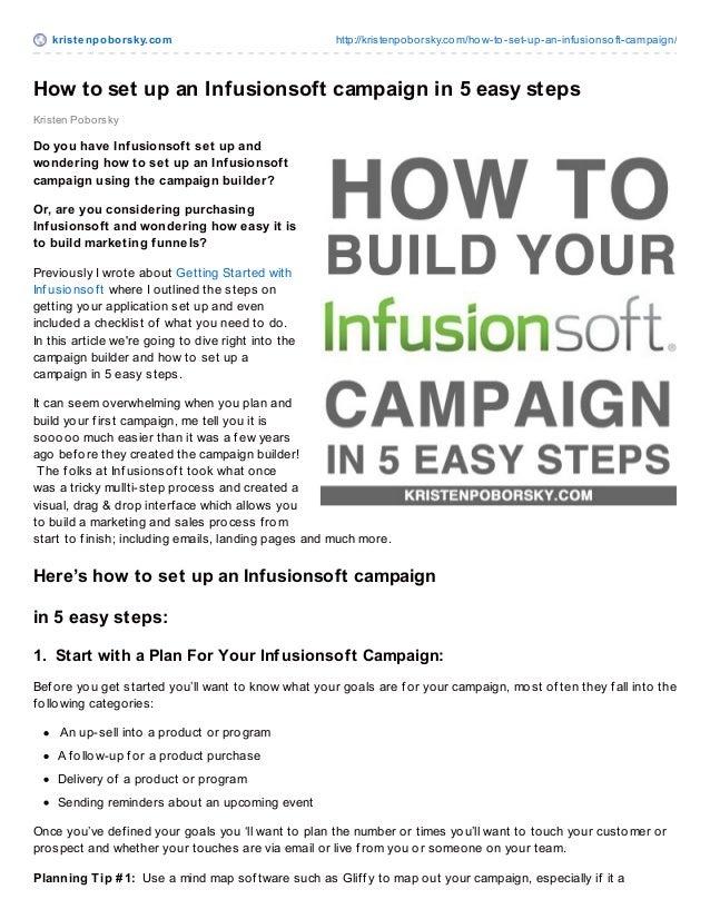 krist enpoborsky.com http://kristenpoborsky.com/how-to-set-up-an-infusionsoft-campaign/ Kristen Poborsky How to set up an ...