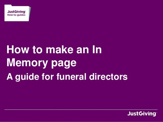 How to make an InMemory pageA guide for funeral directors