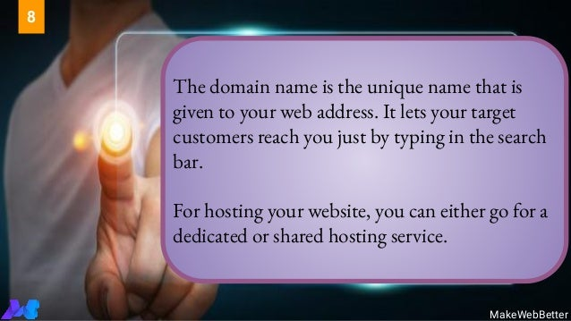 The domain name is the unique name that is given to your web address. It lets your target customers reach you just by typi...