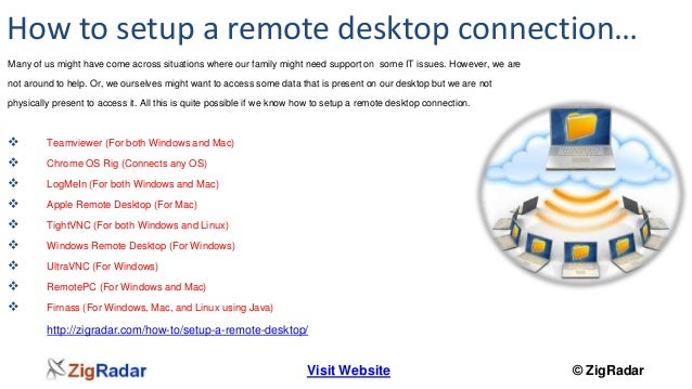 How to setup a remote desktop connection…