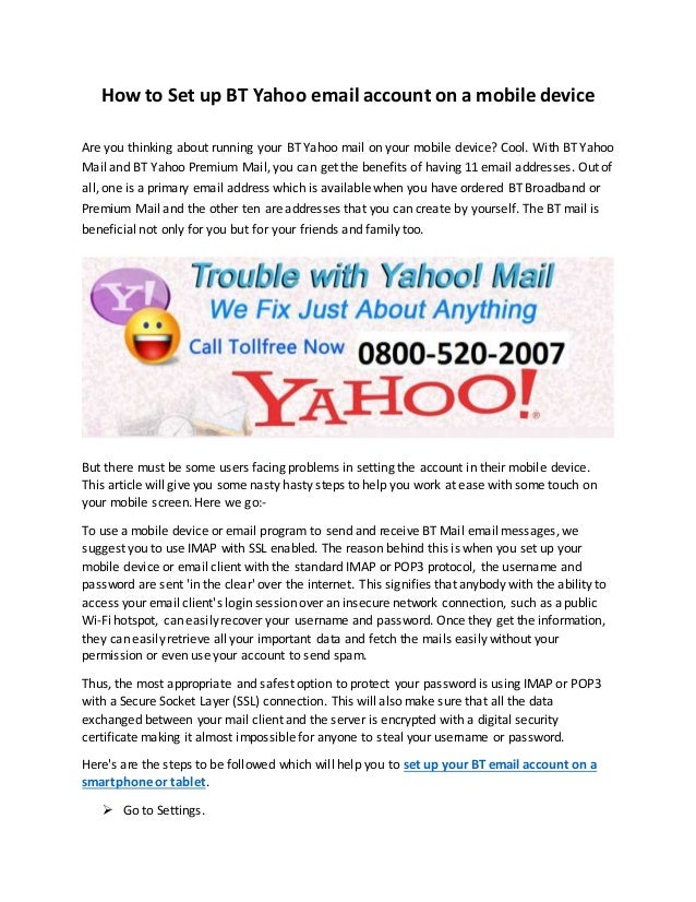 How To Set Up Bt Yahoo Email Account On A Mobile Device