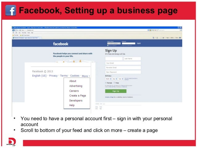 How to set up a business Facebook page and Twitter account