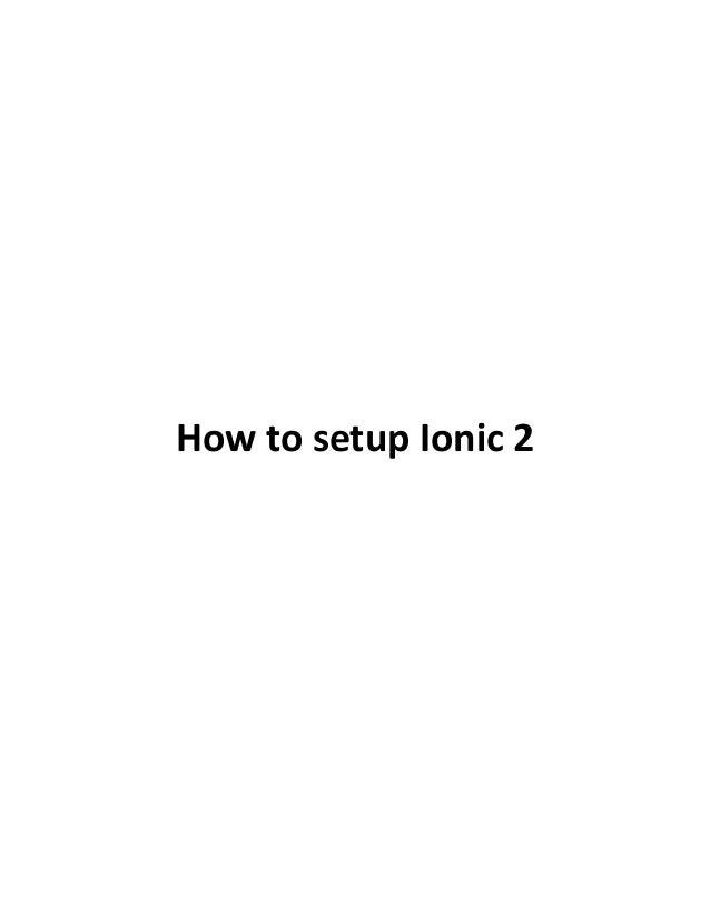 How to setup Ionic 2
