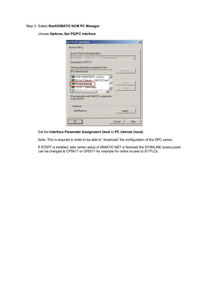 How to set up opc with simatic net
