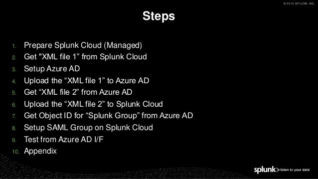 How to setup saml sso with azure ad and splunk cloud 2019