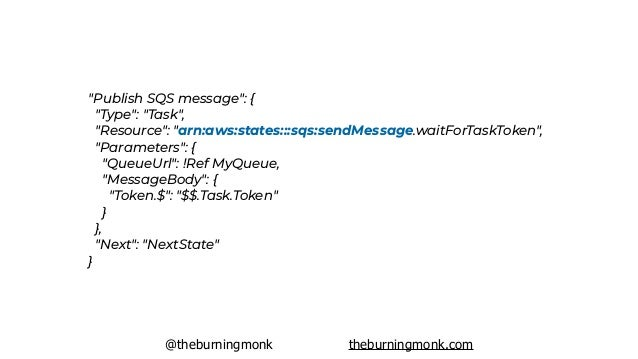 "@theburningmonk theburningmonk.com ""Publish SQS message"": { ""Type"": ""Task"", ""Resource"": ""arn:aws:states:::sqs:sendMessag..."