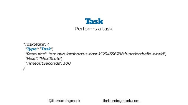"@theburningmonk theburningmonk.com ""TaskState"": { ""Type"": ""Task"", ""Resource"": ""arn:aws:lambda:us-east-1:1234556788:funct..."