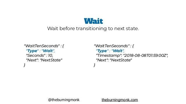 "@theburningmonk theburningmonk.com ""WaitTenSeconds"" : { ""Type"" : ""Wait"", ""Seconds"" : 10, ""Next"": ""NextState"" } Wait Wai..."