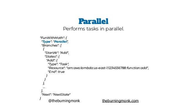 """@theburningmonk theburningmonk.com """"FunWithMath"""": { """"Type"""": """"Map"""", """"Iterator"""": [ { """"StartAt"""": """"DoSomething"""", ..."""