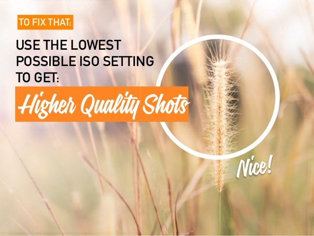 TO FIX THAT: USE THE LOWEST POSSIBLE ISO SETTING TO GET: Nice! Higher QualityShots