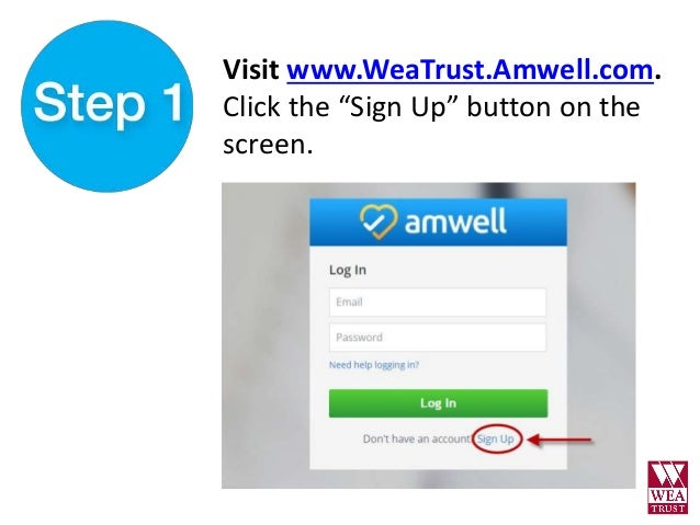 how to  sign up for amwell  web