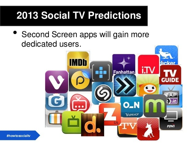 2013 Social TV Predictions• The second screen will become the first screen• TV everywhere will lead to new social solution...
