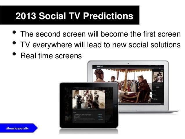 2013 Social TV Predictions• More interactive social tv apps• Social TV Games become part of a broadersocial tv strategy.• ...