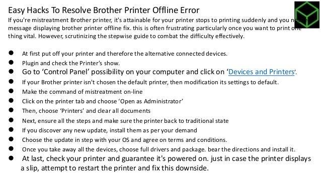 How to solve brother printer offline problem