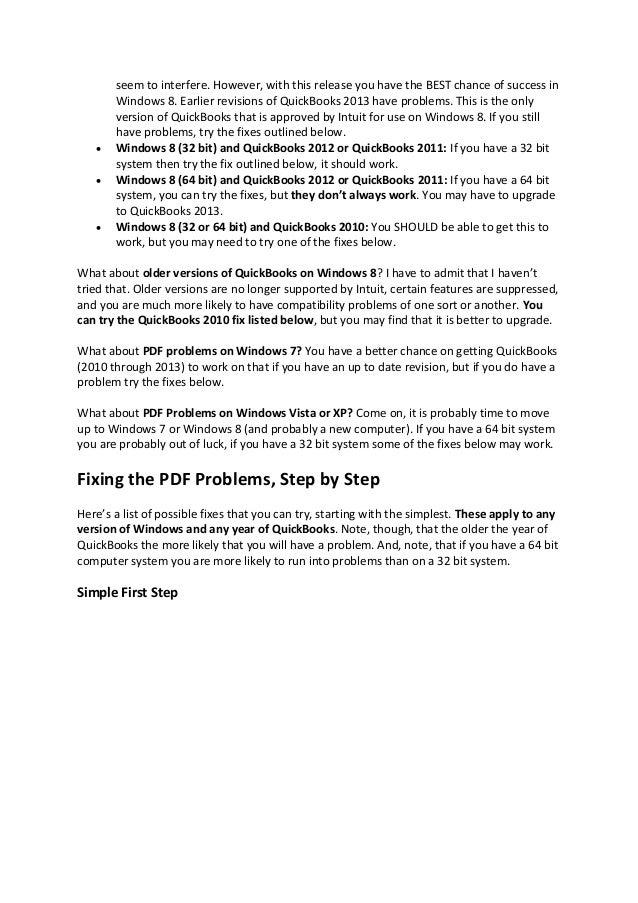 How To Solve Quickbooks Pdf Problems In Windows 8 Mac Book