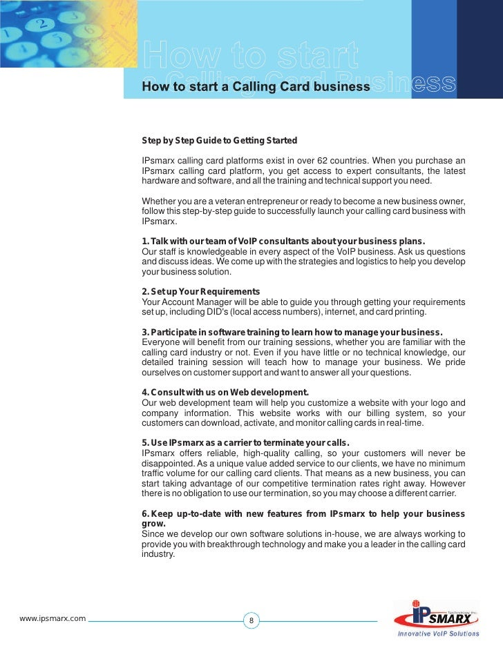 How to start a calling card business guide