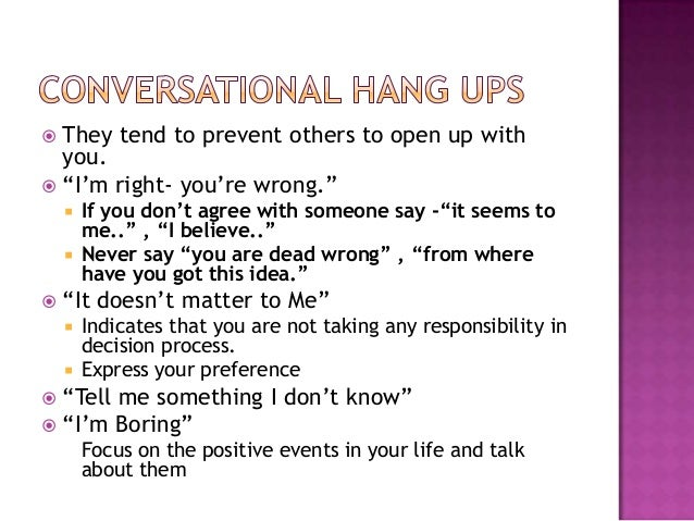 How to open up a conversation