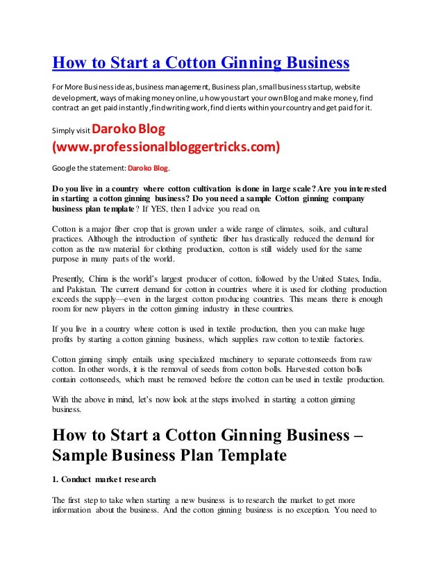 How To Start A Cotton Ginning Business For More Businessideasbusinessmanagementbusinessplansmallbusinessstartup