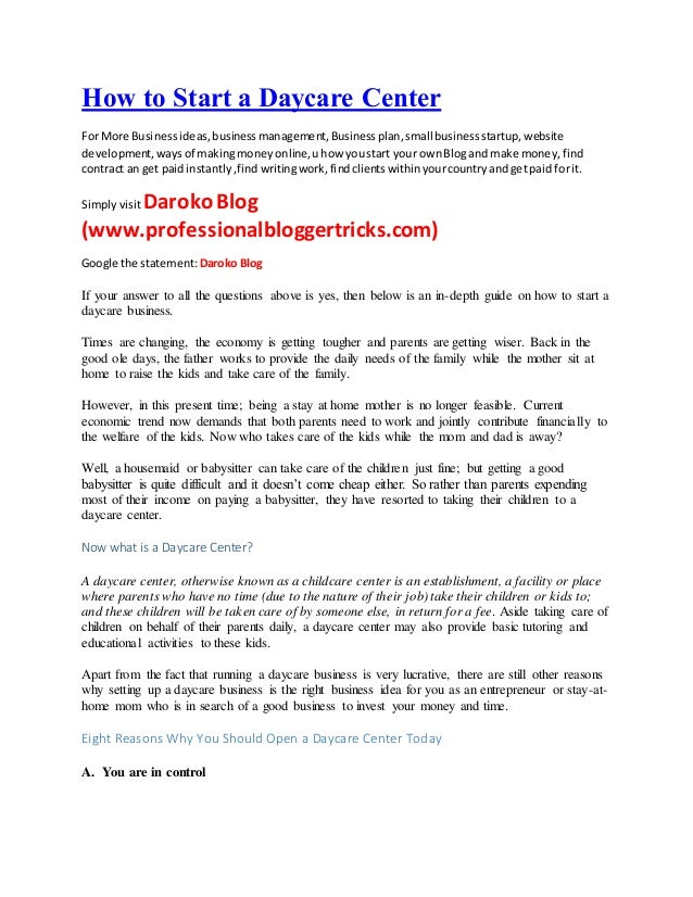 Child Care Business Plan Template Day Care Business Plan Excerpt