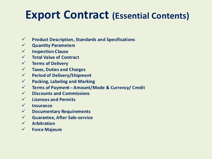 How to start an export import business – Export Contract