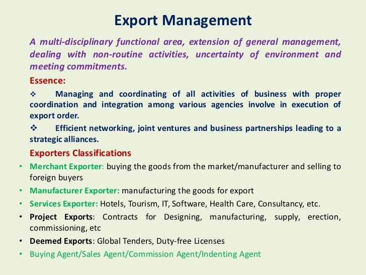 risk management in export import business 5 101 the concept of import export management export import management is a comprehensive textbook specially designed for students of management pursuing a course in international business.