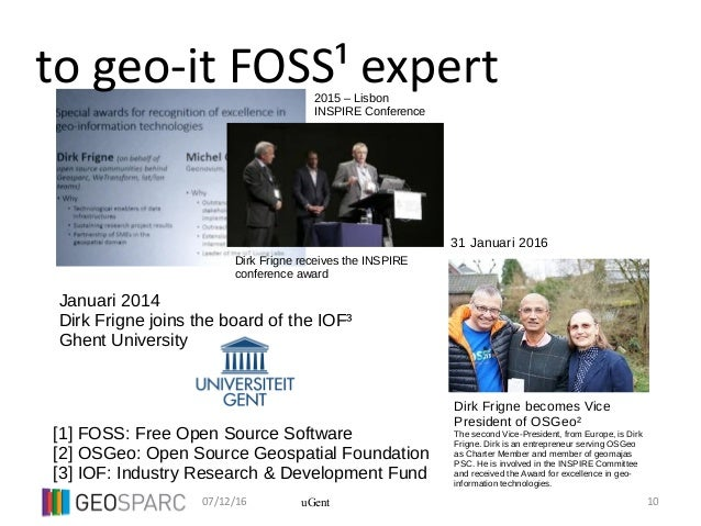 07/12/16 10uGent to geo-it FOSS¹ expert Dirk Frigne receives the INSPIRE conference award Dirk Frigne becomes Vice Preside...
