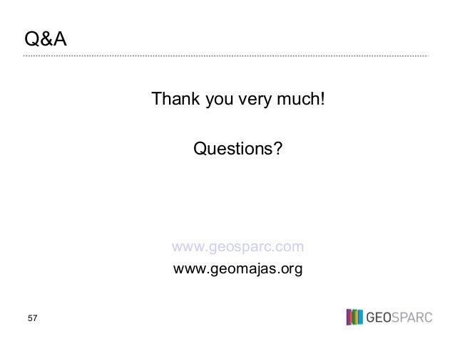 57 Q&A Thank you very much! Questions? www.geosparc.com www.geomajas.org