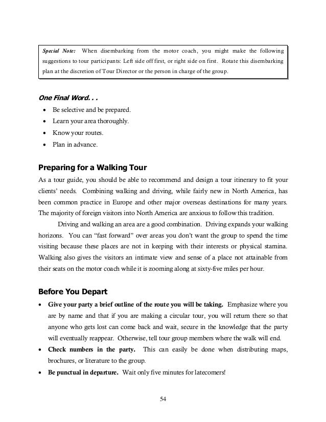 tour guide sample