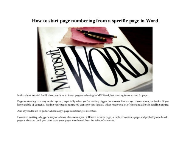 How to start page numbering from a specific page in Word In this short tutorial I will show you how to insert page numberi...