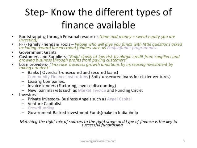 Step-Know the different types of finance available  •Bootstrapping through Personal resources (time and money = sweat equi...