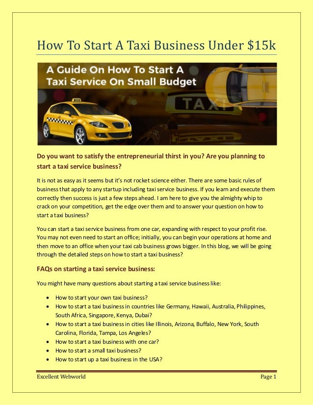 How to start your own taxi business?