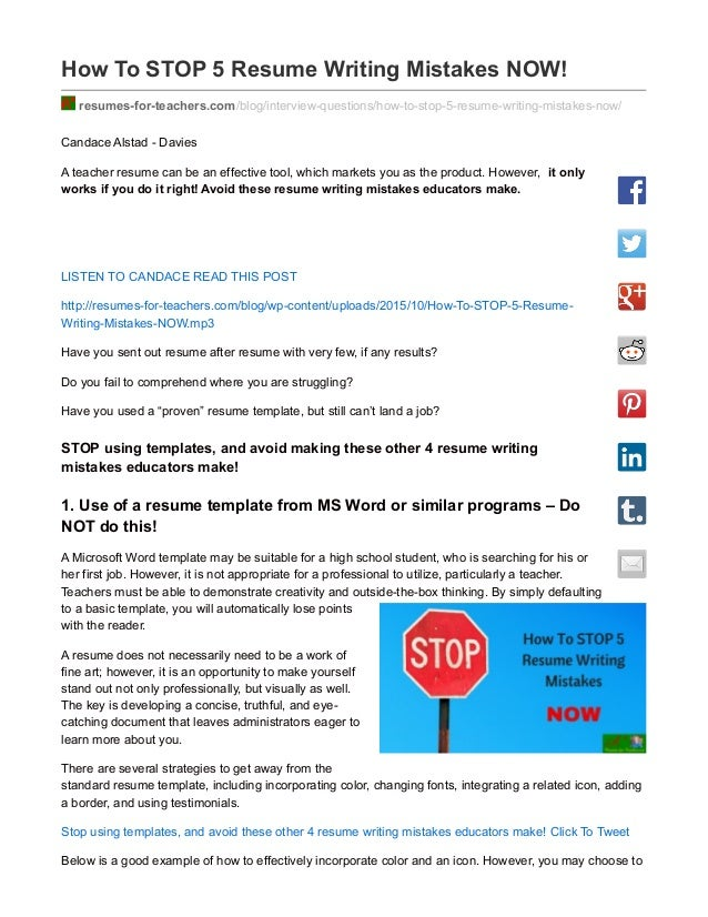 How To STOP 5 Resume Writing Mistakes NOW! Resumes For Teachers.com ...