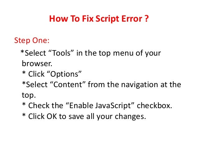 How To Stop Getting Script Errors