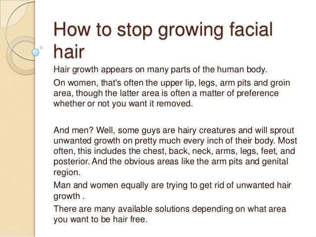 How To Stop Growing Facial Hair