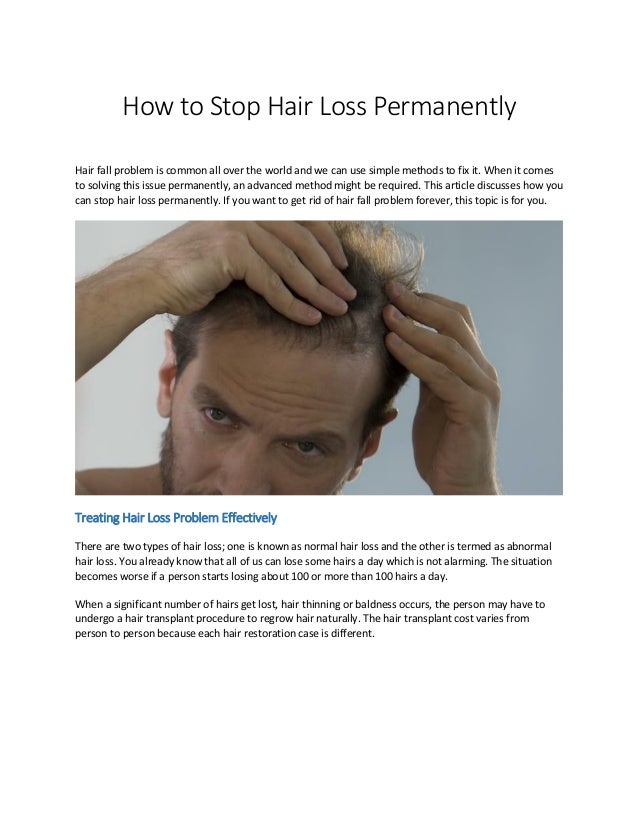 How To Stop Hair Loss Permanently