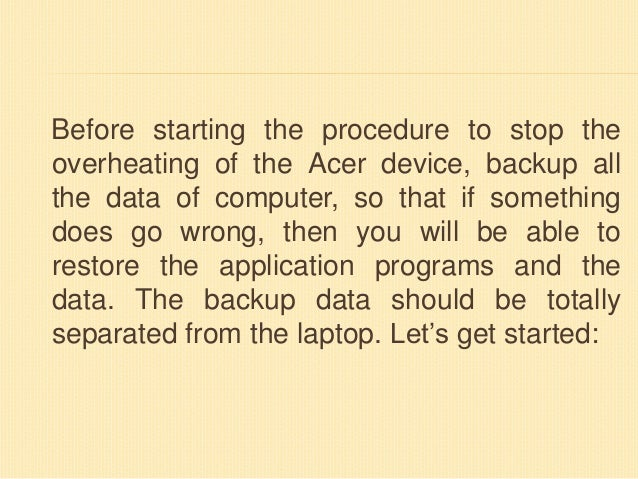 How To Stop Overheating Of Acer Laptop?
