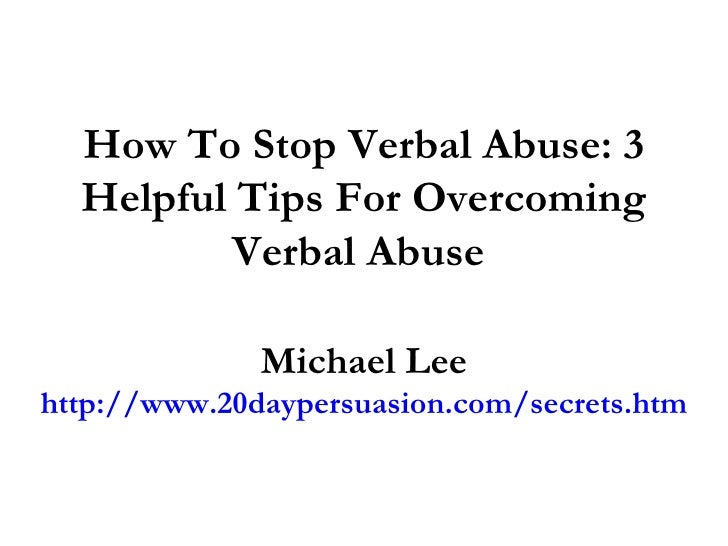 verbal abuse how to stop it