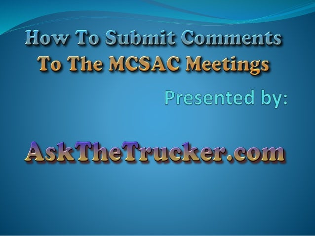 MCSAC Motor Carrier Safety Advisory Committee