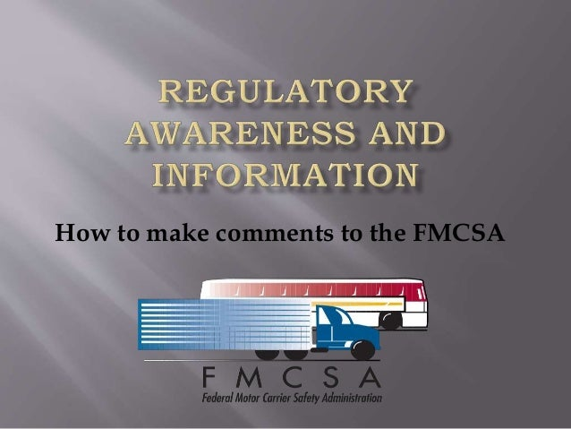 How to make comments to the FMCSA