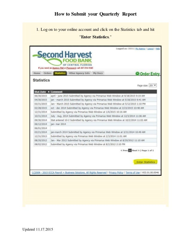 How to Submit your Quarterly Report Updated 11.17.2015 1. Log on to your online account and click on the Statistics tab an...